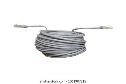 Twisted pair patch cord network Internet cable with shadow isolated over white background. Top view.