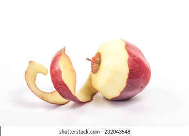 twisted peel of red apple on white background