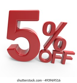 twisted right leaning 3d rendering of a 5% off symbol, isolated on white background
