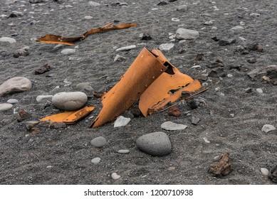 Twisted Rusty Metal on Djupalonssandur Beach, Iceland.