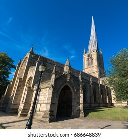 The twisted spire of the Church of St Mary and All Saints, Chesterfield, Derbyshire, UK