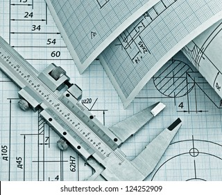 twisted technical drawing and callipers