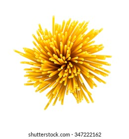 twister of macaroni noodles on white background