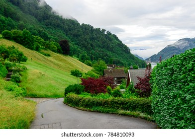A twisting road at village Kehrsiten, on the banks of lake Lucerne, Switzerland