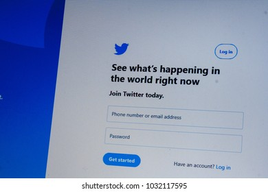Twitter sign page displayed on the laptop screen. Close-up logo. 23/02/2018 - Rzeszow, Poland.