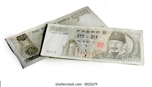 Two 10,000 won South Korean Bills (about $10 each) isolated