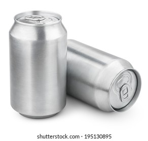 Two 330 ml aluminum soda cans isolated on white