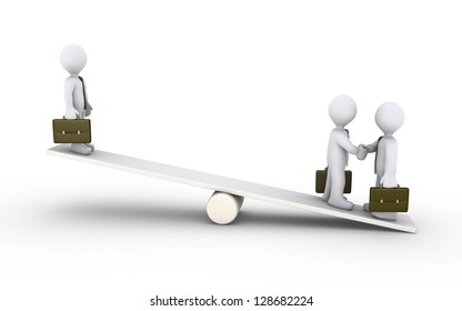 Two 3d businessmen agree and another is high on a seesaw
