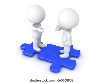 Two 3D Characters extending hands and sitting on interlocking blue puzzle pieces. Image conveying compatibility and diversity.