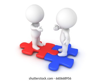 Two 3D Characters extending hands and sitting on interlocking red and blue puzzle pieces.  Image conveying compatibility and diversity.