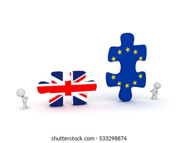 Two 3D characters and large puzzles with UK and EU flags. Isolated on white background.