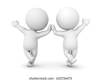 Two 3D Characters leaning on one leg high five each other and waving. Image can convey a cheerful attitude