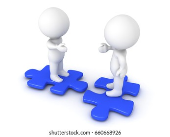 Two 3D Characters sitting on blue puzzle pieces and extending hands. Image conveying compatibility and diversity.