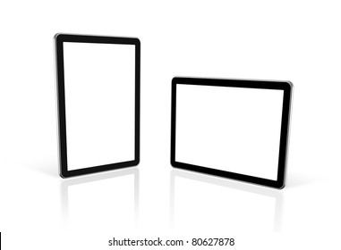 two 3D computers, digital Tablet pc,  tv screen, isolated on white with 2 clipping paths : one for screen and one for global scene