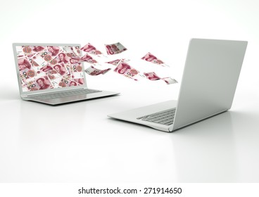two 3D laptops transferring china money banknotes