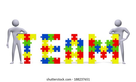 Two 3d people near team text assembled of multicolor puzzle pieces