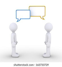 Two 3d persons are talking with speech bubbles