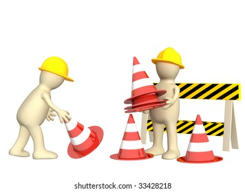 Two 3d puppets with emergency cones