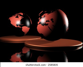 two 3d rendered globes showing all the continents