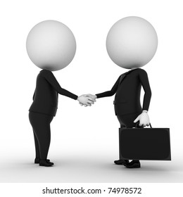 two 3d rendered white characters shaking hands