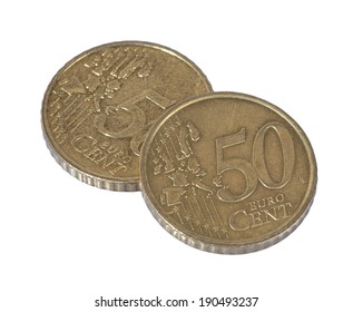 two 50 cent coins close up on white background