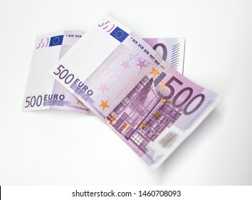 two 500 euro banknotes, white background, banknotes of the euro, currency of the euro area, final issue 500 euro, stop producing the €500 banknote,