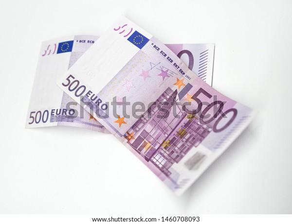 Two 500 Euro Banknotes White Background Stock Photo Edit Now 1460708093