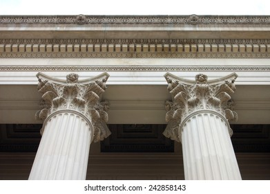 Two of the 72 Corinthian columns of the US National Archives Building in Washington, DC. Each stands 53 feet high and is 5 feet 8 inches in diameter.