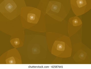 Two abstract figures, rounded square spirals shapes, spreaded into a dark brown background