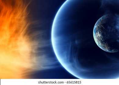 Two abstract planets in black space