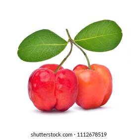 Two Acerola Cherries with leaves isolated on white with clipping path, High vitamin C and Antioxidant fruits