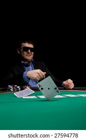 Two aces fold in texas hold'em poker at Las Vegas casino
