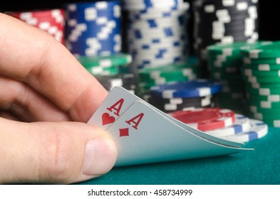 Two aces in the hand on the pokers preflop