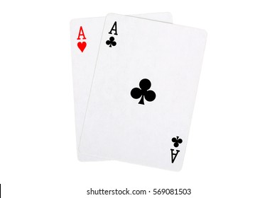 two aces isolated on white, blackjack hand