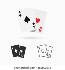 Two aces. Winning poker hand