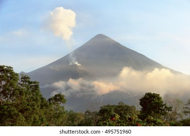 Two active volcanoes Santiaguito & Santa Maria at sunrise in Guatemala