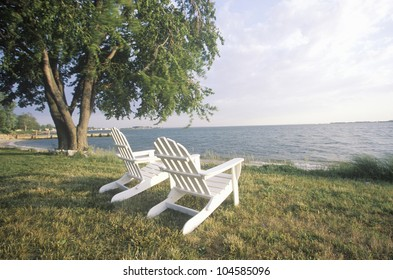 Two Adirondack chairs overlooking the Chesapeake Bay, MD