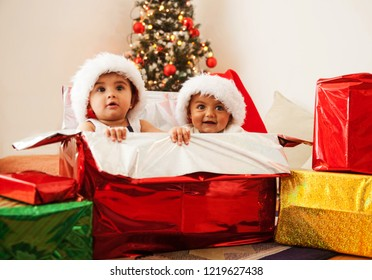 Two adorable baby girls inside of a gift box smiling with the Christmas tree in the background