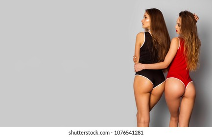 two adorable girlfriends in sexy body swimsuit on grey background