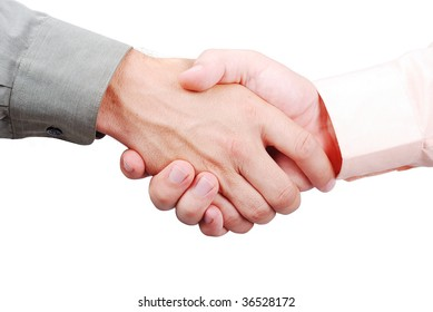 Two adult men's hands shaking, isolated