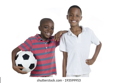 Two african boys with foot ball, Studio Shot, isolated