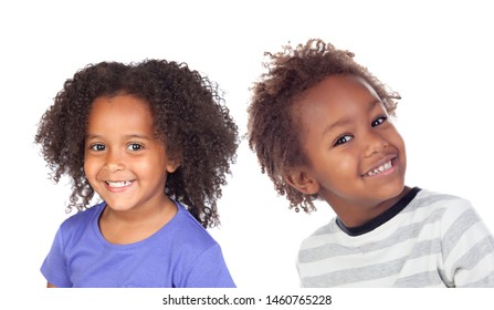Two Afro American Children Isolated On a White Background