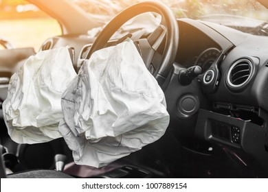 two airbag exploded at a car accident,Car Crash and illuminated