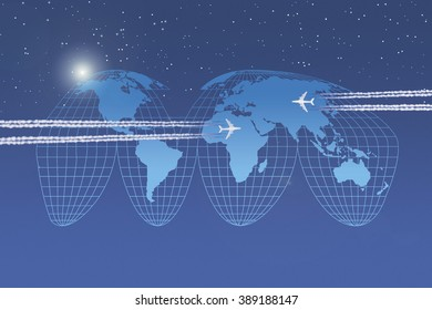 Two aircrafts in front of  a world map in goode projection