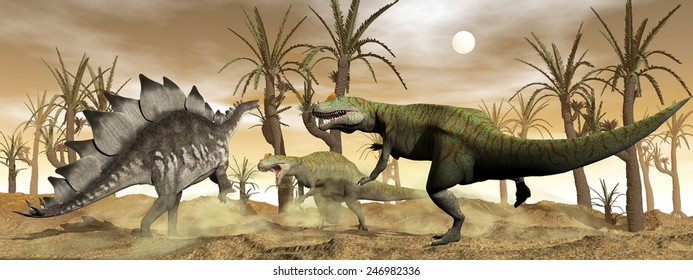 Two allosaurus and one stegosaurus dinosaurs fighting next to williamson trees in the desert by brown sunset - 3D render
