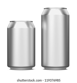 Two Aluminum Cans Isolated on White.