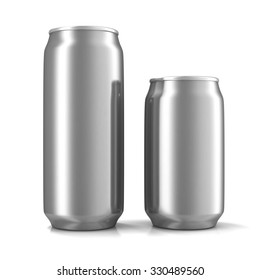 Two aluminum cans isolated on white