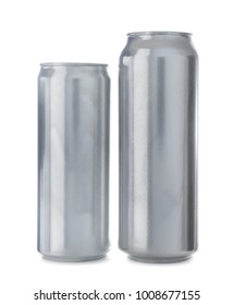 Two aluminum cans on white background