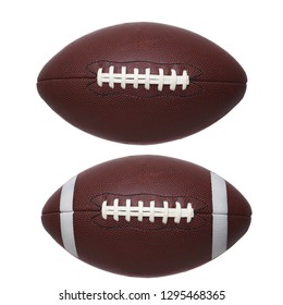 Two American Style Footballs on white. One pro style and one college with stripes isolated on white.