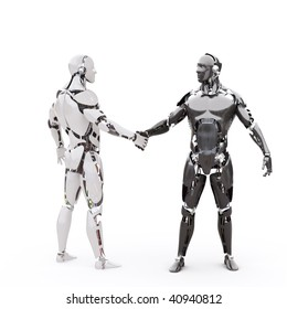 Two android shake hands